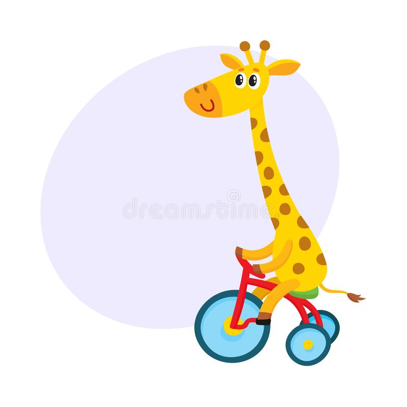 Ślicznego małego żyrafa charakteru jeździecki bicykl, trójkołowiec, kolarstwo, kreskówki ilustracja royalty ilustracja