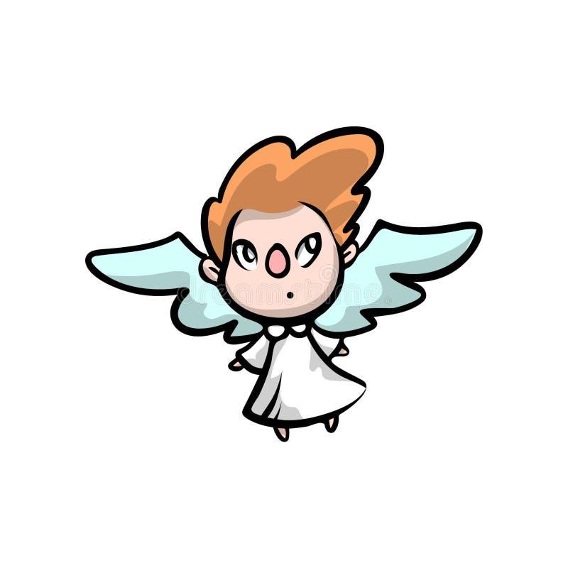 Ślicznego małego dzieciaka anioła czerwony włosiany kolor ilustracji