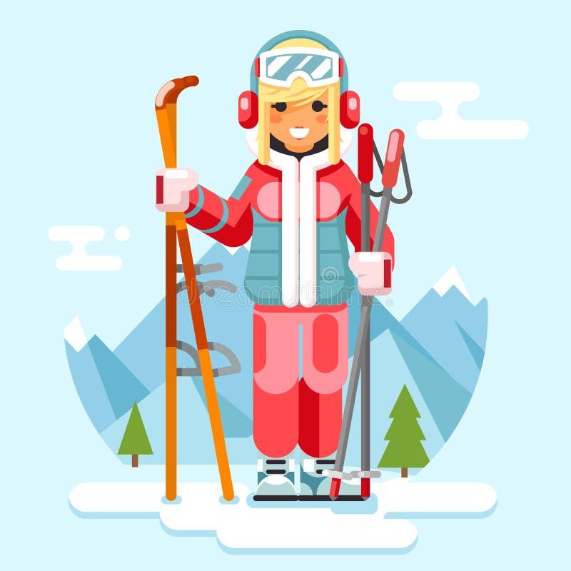 Ślicznego narciarki dziewczyny zimy sporta kurortu wakacji narciarskiego narciarstwa projekta wektoru halna płaska ilustracja royalty ilustracja
