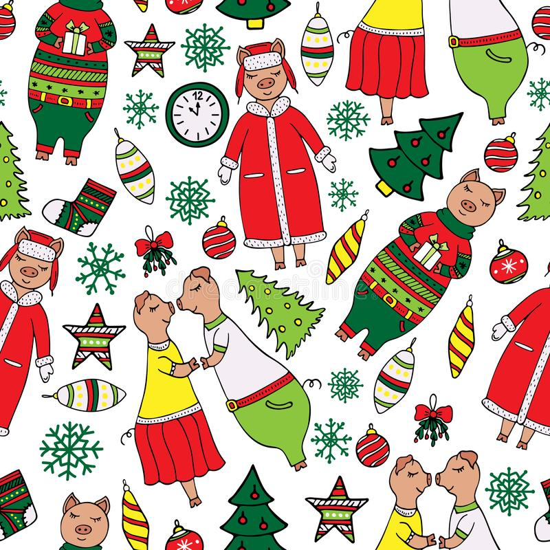 Ślicznego nowego roku bezszwowy wzór z świniami royalty ilustracja