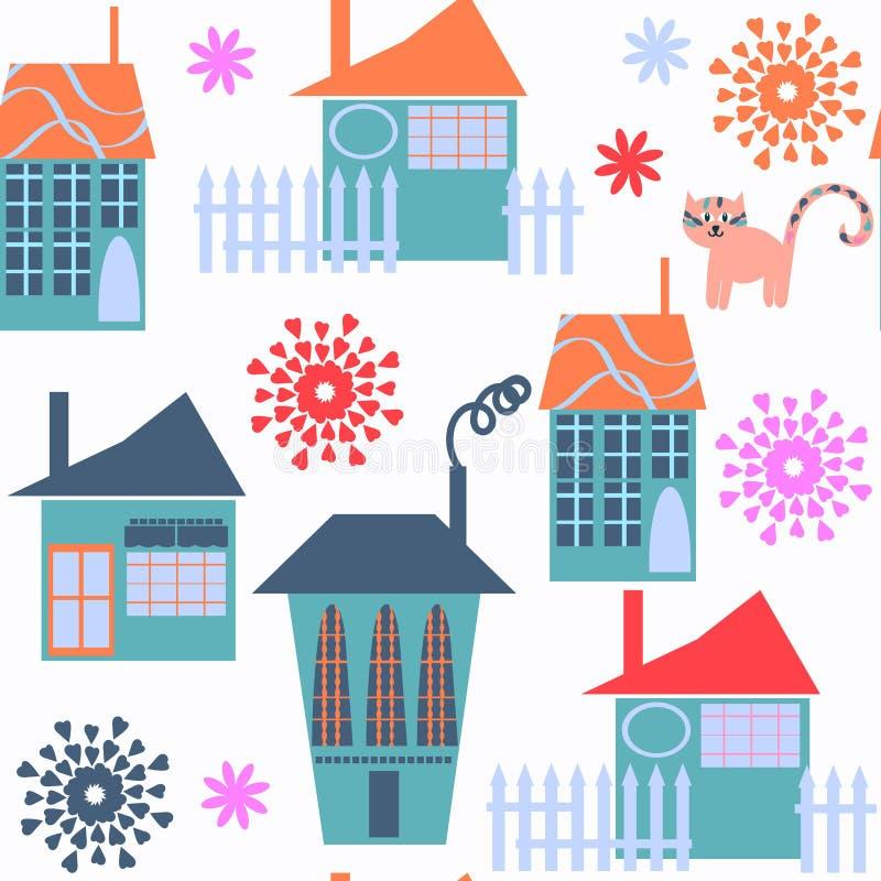 Ślicznego nowożytnego miasta bezszwowy wzór Ja lokalizuje w swatch menu, ilustracji
