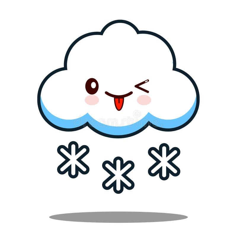 Ślicznego obłocznego płatka śniegu kawaii twarzy ikony postać z kreskówki projekta Płaski wektor ilustracji