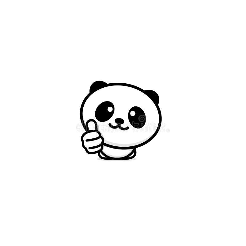 Ślicznego panda azjata Niedźwiadkowy seans lubi up, kciuk ręka, wysoki szacunek i zatwierdzenie wektoru logo, Well robić ilustrac ilustracja wektor