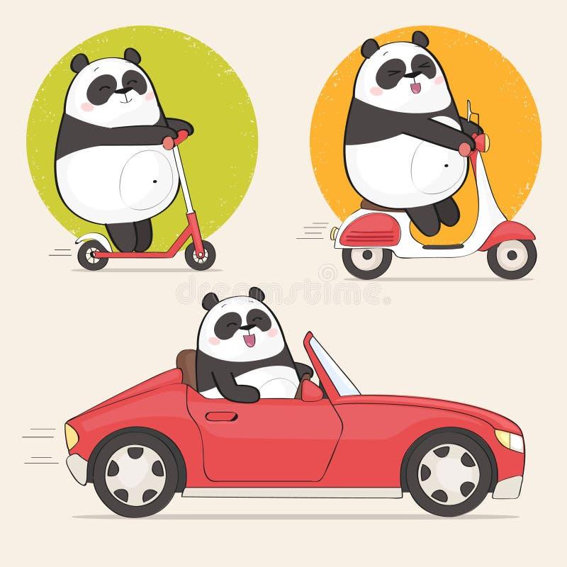 Ślicznego panda charakteru jeździecka hulajnoga i napędowy samochód royalty ilustracja