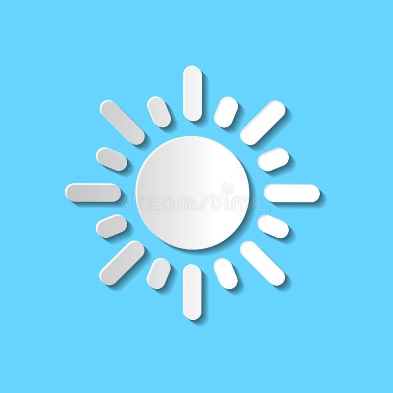 Ślicznego papieru rżniętego białego słońca wektorowa ikona odizolowywająca na błękitnym tle ilustracji