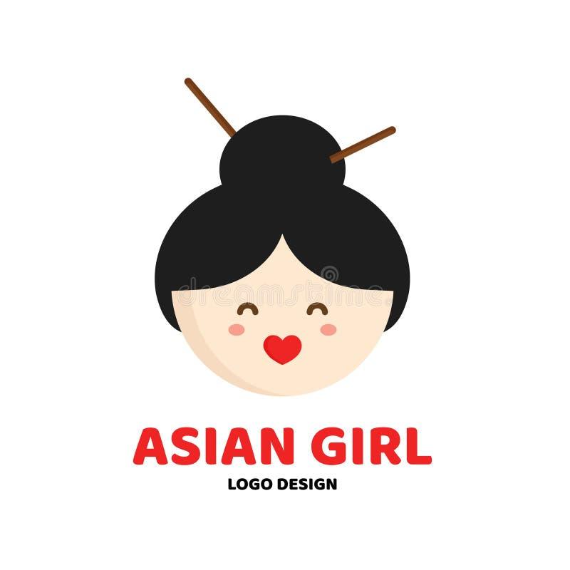 Ślicznego piękna dziewczyny twarzy loga azjatykci szablon royalty ilustracja
