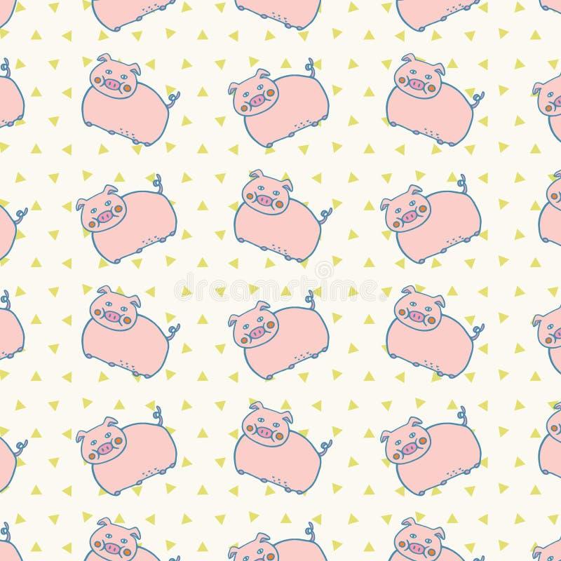Ślicznego Różowego świni zwierzęta gospodarskie Retro wzoru Odosobniony tło ilustracji