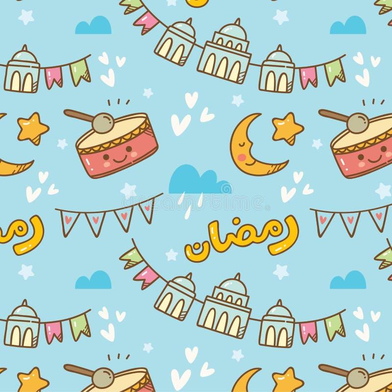 Ślicznego Ramadan doodle bezszwowy wzór ilustracji