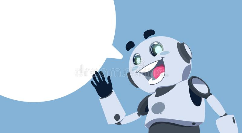 Ślicznego robota gadki bąbla Chatbot Biała usługa, trajkotanie Lub Chatterbot pomocy technicznej App pojęcie, ilustracja wektor