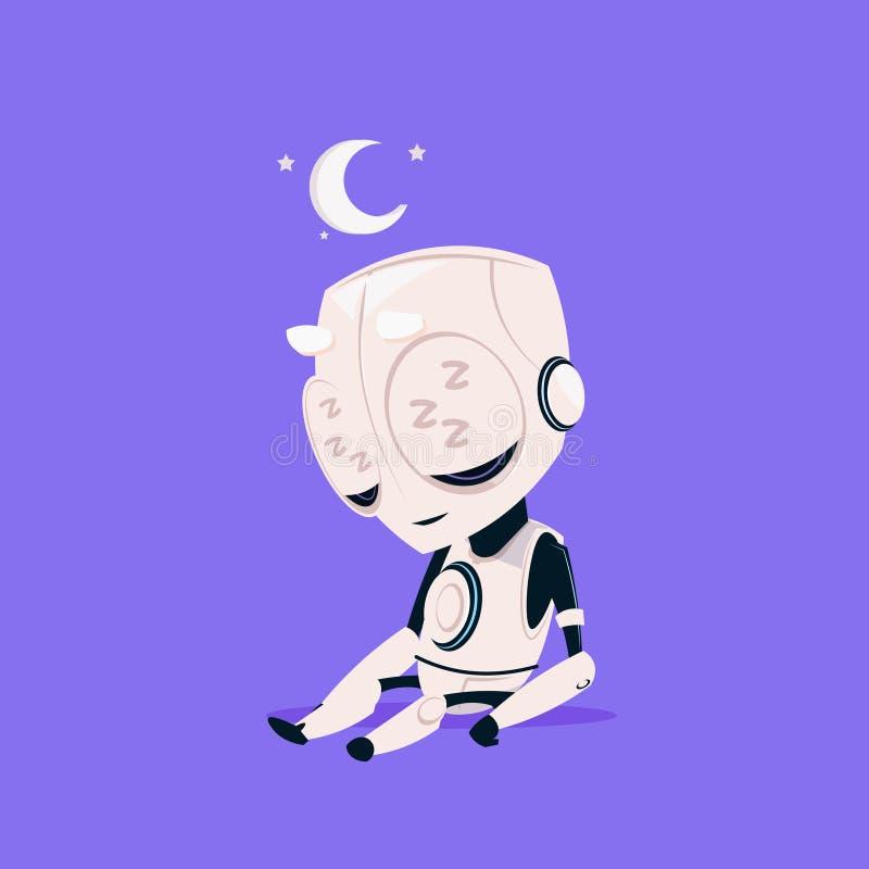 Ślicznego robota sen Odosobniona ikona Na Błękitnego tła technologii Sztucznej inteligenci Nowożytnym pojęciu royalty ilustracja