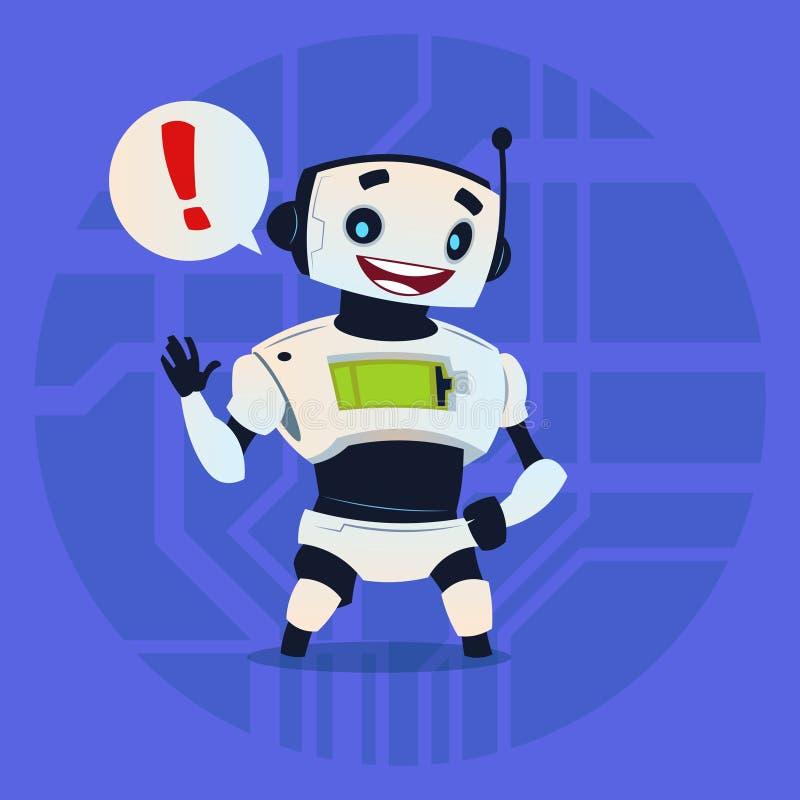 Ślicznego robota Szczęśliwa Pokazuje wiadomość Nowożytny Sztucznej inteligenci technologii pojęcie ilustracja wektor