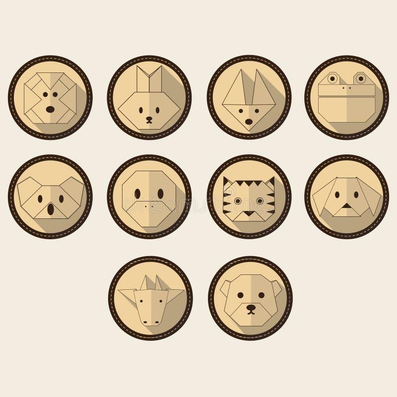 Ślicznego roczników zwierząt mieszkania cienia ikony długi set ilustracja wektor