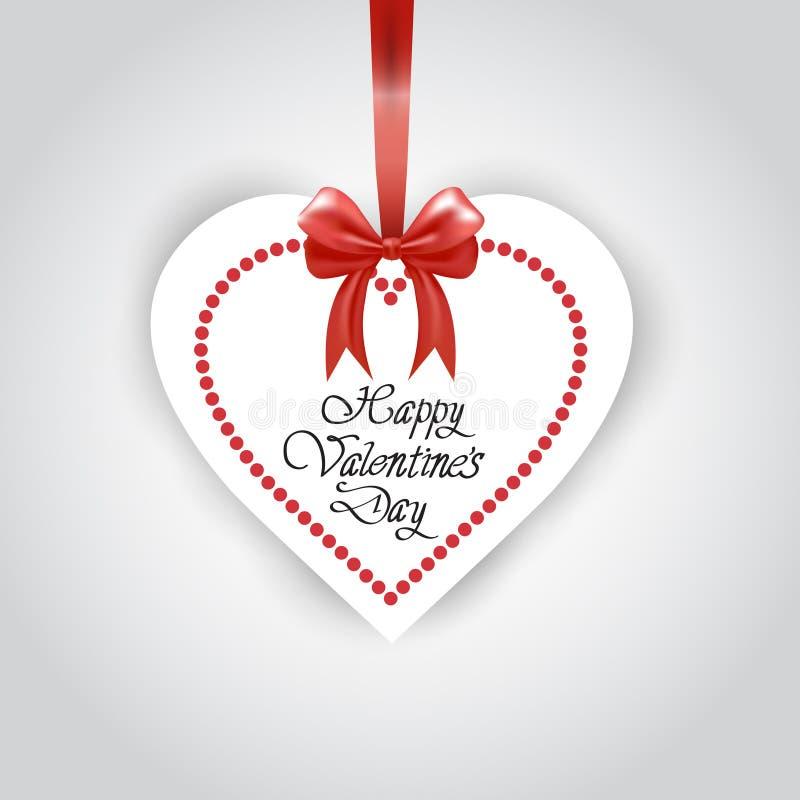 Ślicznego Szczęśliwego walentynka dnia kartka z pozdrowieniami serca Kształtny majcher Na Czerwonym faborku Odizolowywającym Nad  royalty ilustracja