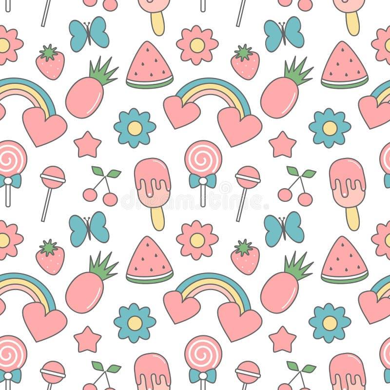 Ślicznego tropikalnego lata wektoru wzoru tła bezszwowa ilustracja z motylami, kwiaty, świeże owoc, tęcze, lizak, ilustracja wektor