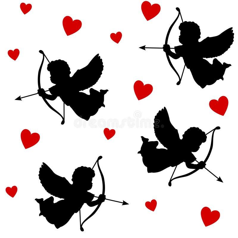 Ślicznego valentine bezszwowy wzór z sylwetkami aniołów amorkowie z strzała i sercami, czarne ikony, ilustracyjny backgro royalty ilustracja