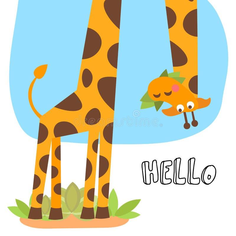 Ślicznego wektorowego kreskówka modnego projekta mała żyrafa z trawą w usta Afrykańskiej zwierzęcej przyrody wektorowa ilustracyj royalty ilustracja