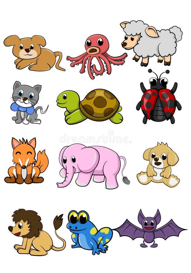 Ślicznego zwierzę psa ilustracji wektorowy set ilustracji