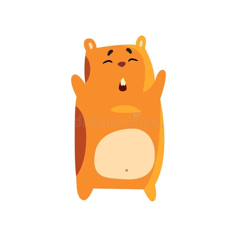 Ślicznej śmiesznej kreskówki charakteru chomikowa pozycja z nastroszonymi łapami, brown ślepuszonki zwierzęcego zwierzęcia domowe ilustracja wektor