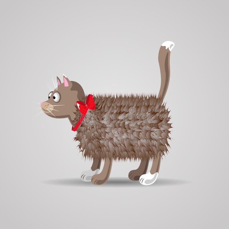Ślicznej śmiesznej kreskówki puszysty kot z czerwonym łękiem ilustracji