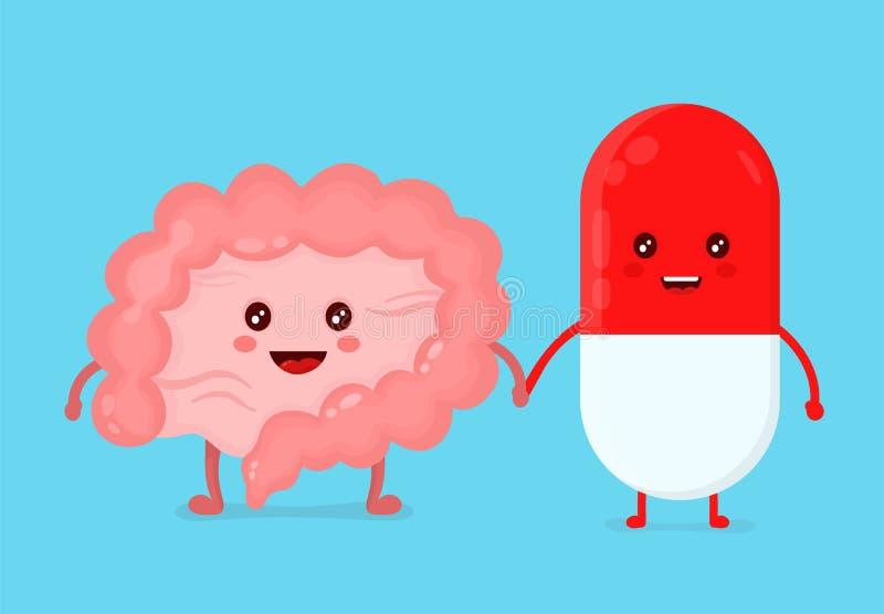 Ślicznej śmiesznej uśmiechniętej pigułki zdrowi szczęśliwi jelita ilustracji