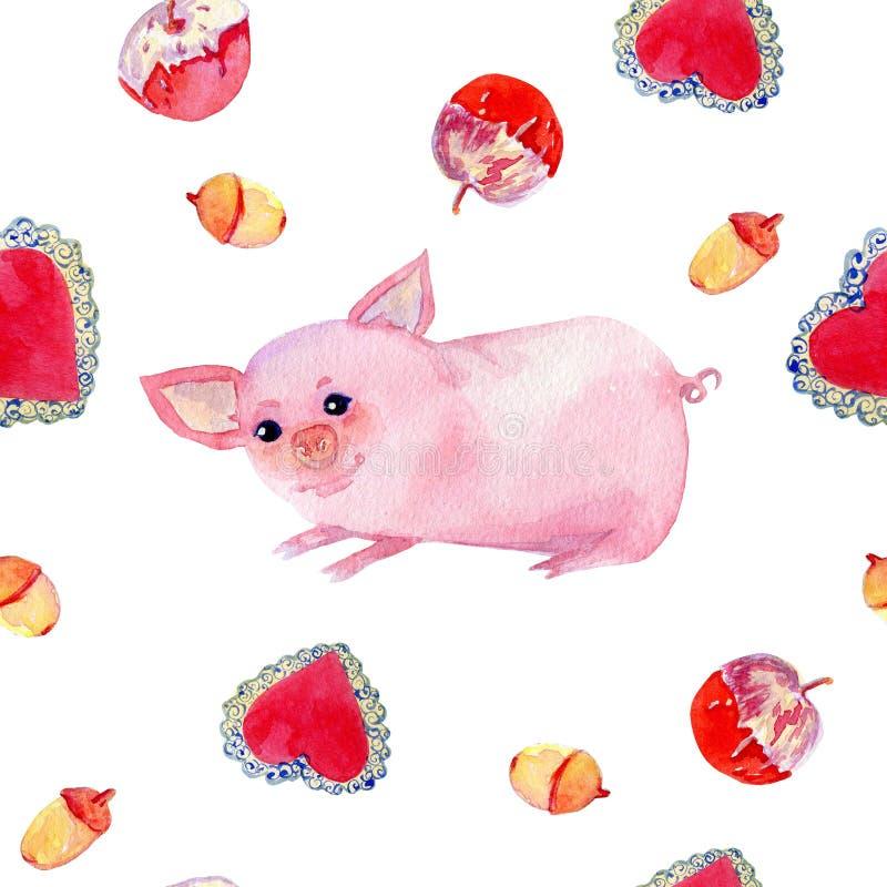 Ślicznej świni akwareli bezszwowy wzór na białym tle ilustracja wektor