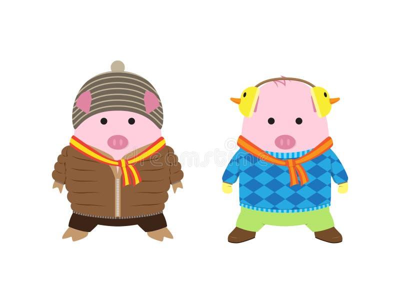 2 Ślicznej świni w zimie Odziewają Kreskówka wektor royalty ilustracja