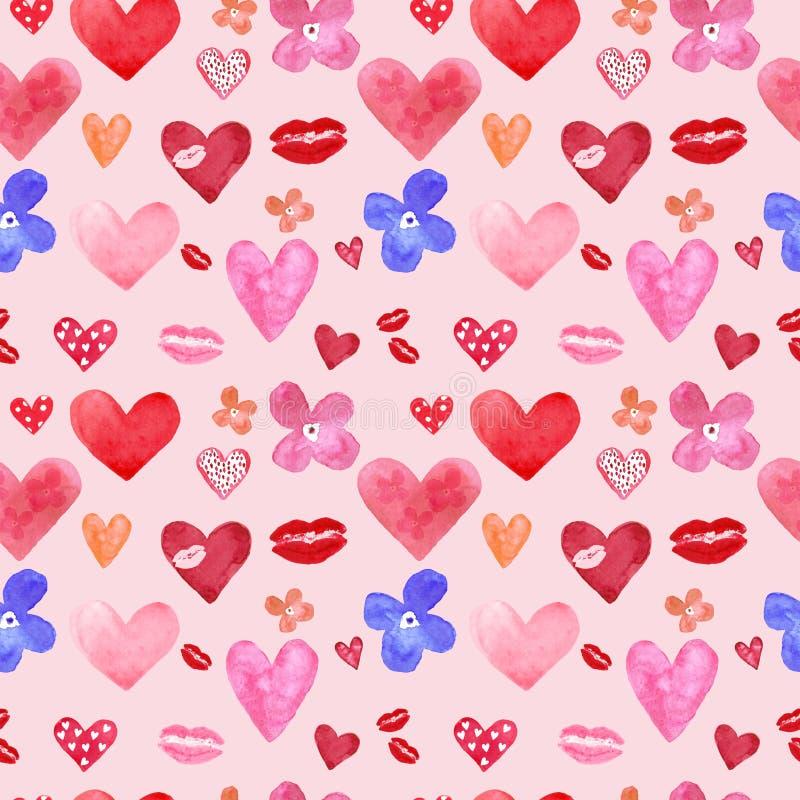 Ślicznej akwareli bezszwowy wzór z ręką malował serca na różowym tle Miłość symbole ustawiający dla walentynka dnia, ilustracja wektor