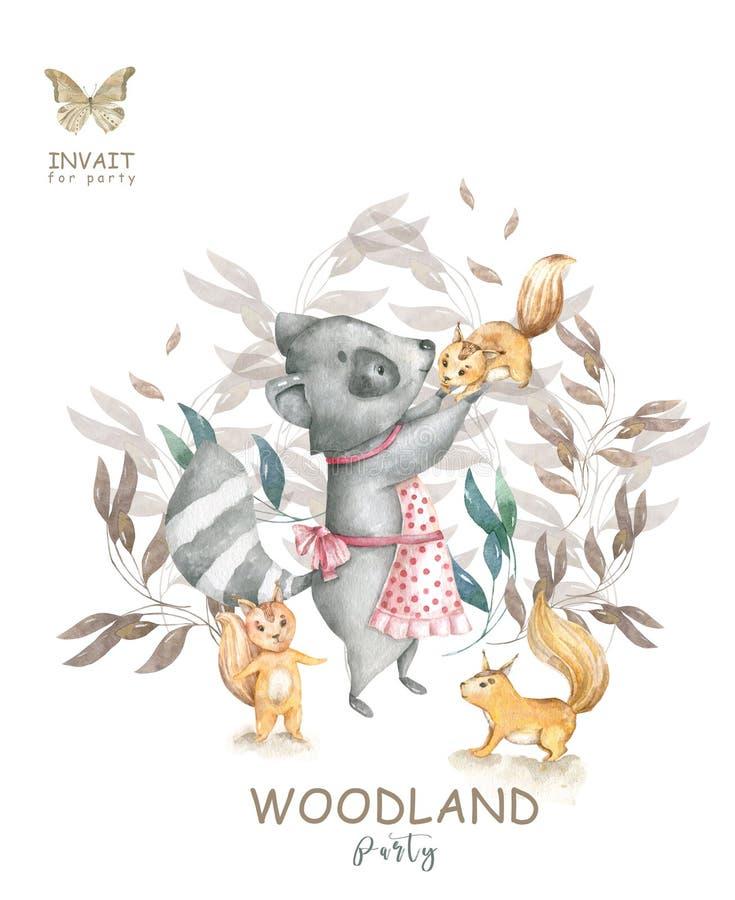 Ślicznej akwareli dziecka kreskówki artystyczny roccoon i wiewiórki zwierzę dla dziecina, lasów rogaczy, lisa i sowy pepiniery od royalty ilustracja
