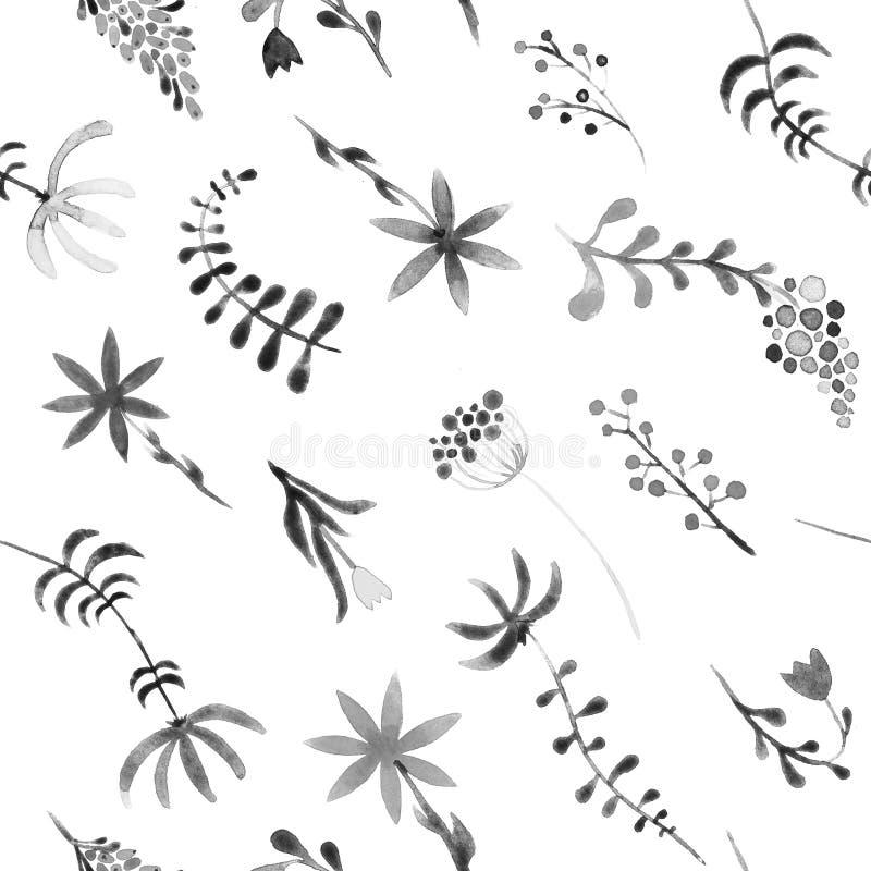 Ślicznej akwareli kwiecisty bezszwowy wzór Plecy i ilustracja wektor