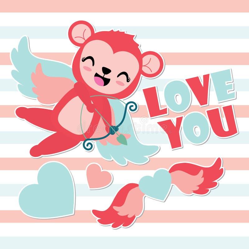 Ślicznej amorek małpy łuczniczy serce uskrzydla kreskówki ilustrację dla Szczęśliwej walentynki karcianego projekta royalty ilustracja