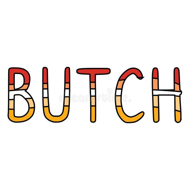 Ślicznej butch typografii lesbian kreskówki motywu wektorowy ilustracyjny set Ręka rysujący odizolowywający LGBTQ dumy elementów  ilustracji