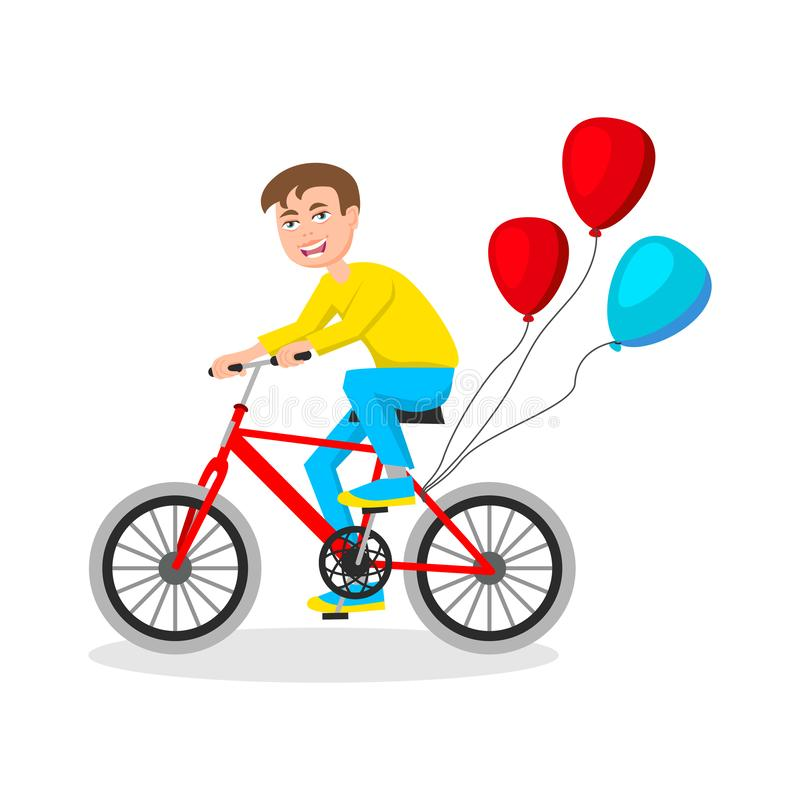 Ślicznej chłopiec jeździecki bicykl na białym tło wektorze royalty ilustracja