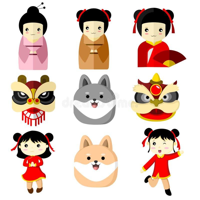 Ślicznej charakter Azjatyckiej kultury Wektorowa Ilustracyjna grafika ilustracja wektor