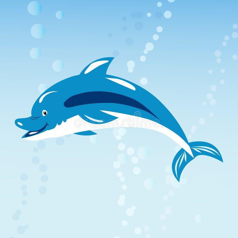 Ślicznej delfin natury oceanu błękita ssaka wody morskiej nadwodnej morskiej przyrody zwierzęca wektorowa ilustracja royalty ilustracja
