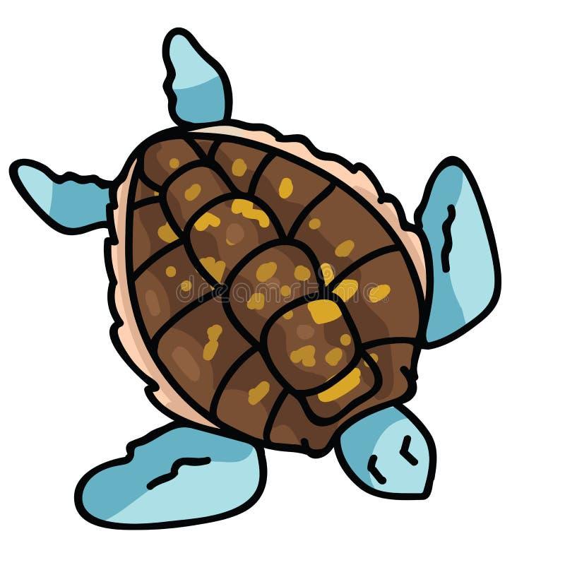 Ślicznej dennego żółwia odgórnego widoku kreskówki motywu wektorowy ilustracyjny set Wręcza rysującego odosobnionego zagrażająceg ilustracja wektor