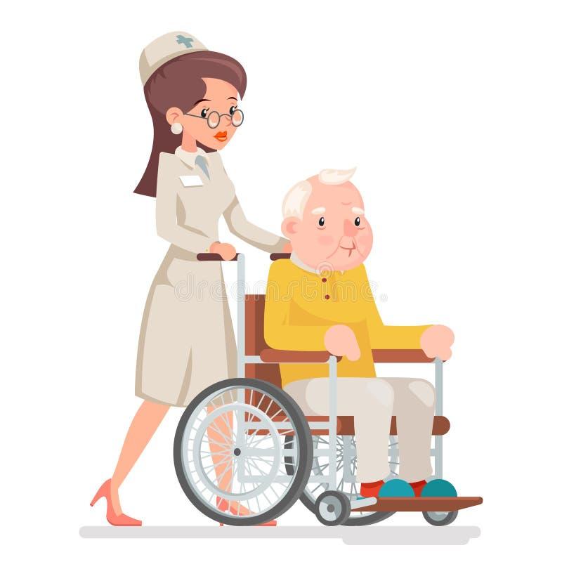 Ślicznej Doktorskiej Towarzyszącej pielęgniarki wózka inwalidzkiego starego człowieka Starszy Troskliwy charakter Siedzi Dorosłeg ilustracja wektor