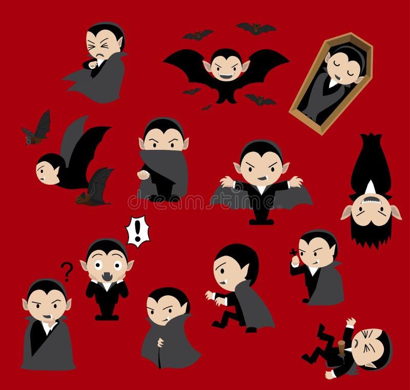 Ślicznej Dracula kreskówki tła wektoru Czerwona ilustracja ilustracja wektor