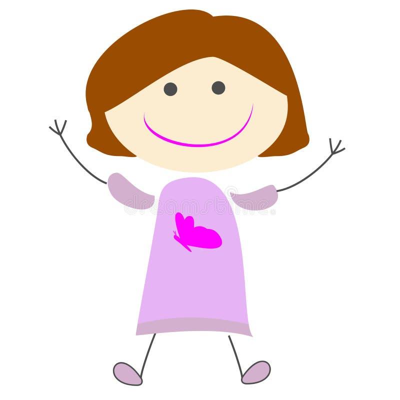 Ślicznej dzieciak dziewczyny kreskówki prosta ilustracja obraz stock