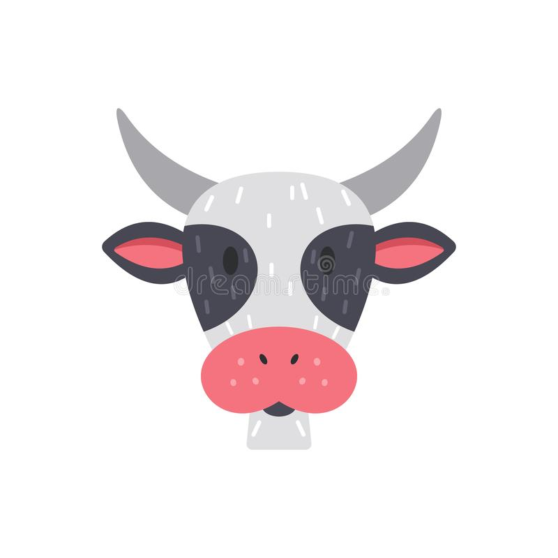 Ślicznej dzieciak krowy twarzy wektorowa ilustracja odizolowywająca na bielu royalty ilustracja