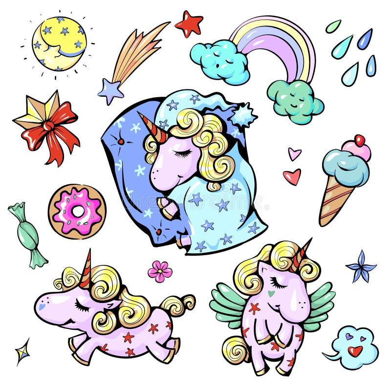 Ślicznej dziecko jednorożec wektorowa ilustracja w pastelowej tęczy barwi sypialnego szczęśliwego cukierki ilustracji