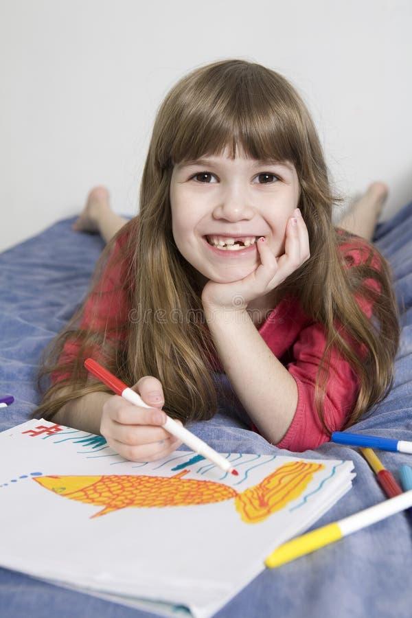 ślicznej dziewczyny starzy siedem uśmiechniętych rok obrazy stock