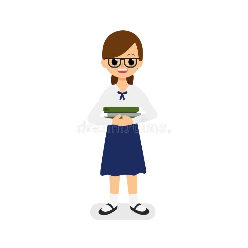 Ślicznej dziewczyny Tajlandzki studencki mienie rezerwuje wektor z odosobnionym białym tłem Ciężki nauki dziewczyny pojęcie ilustracji