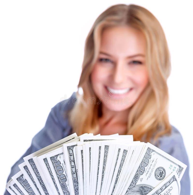 Ślicznej dziewczyny wygrany pieniądze zdjęcia stock