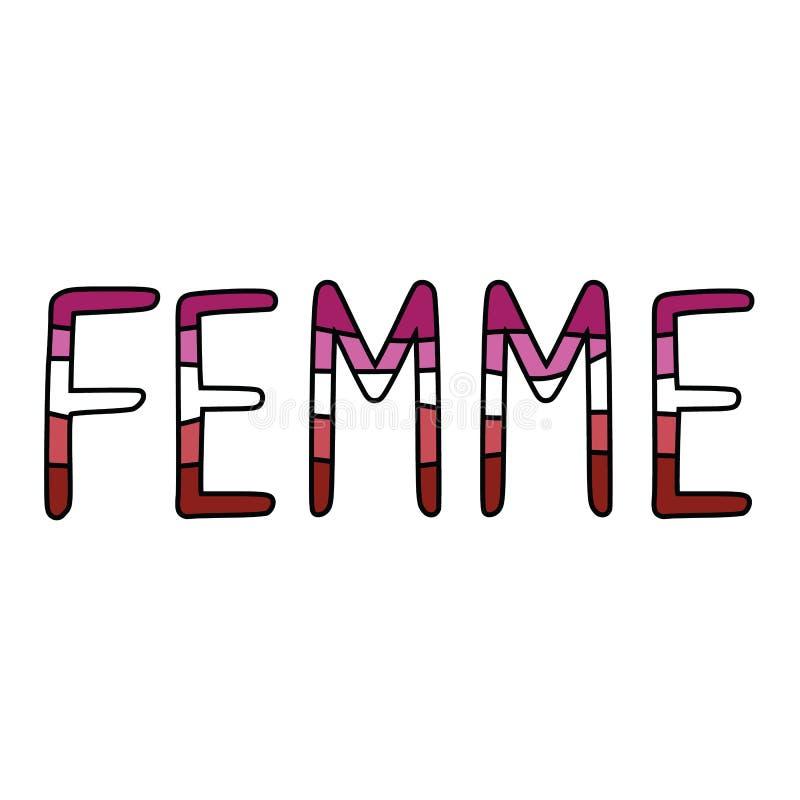 Ślicznej femme typografii lesbian kreskówki motywu wektorowy ilustracyjny set Ręka rysujący odizolowywający LGBTQ dumy elementów  ilustracja wektor