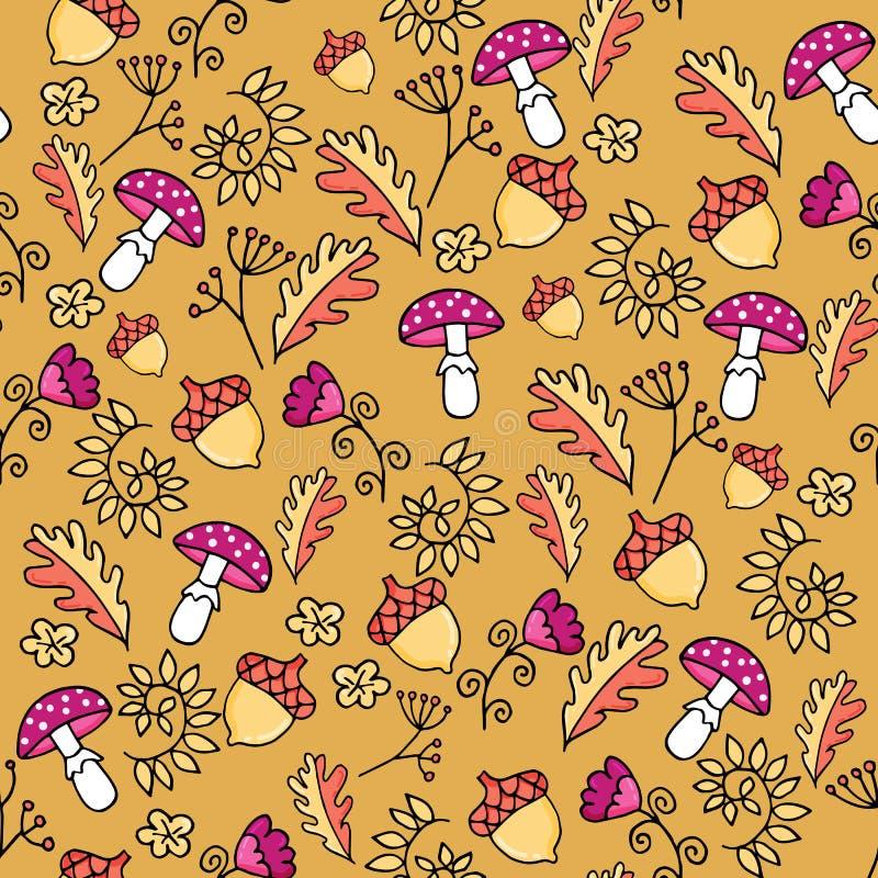Ślicznej jesieni bezszwowy wzór z pieczarką, liśćmi i acorn bedłki, ilustracja wektor