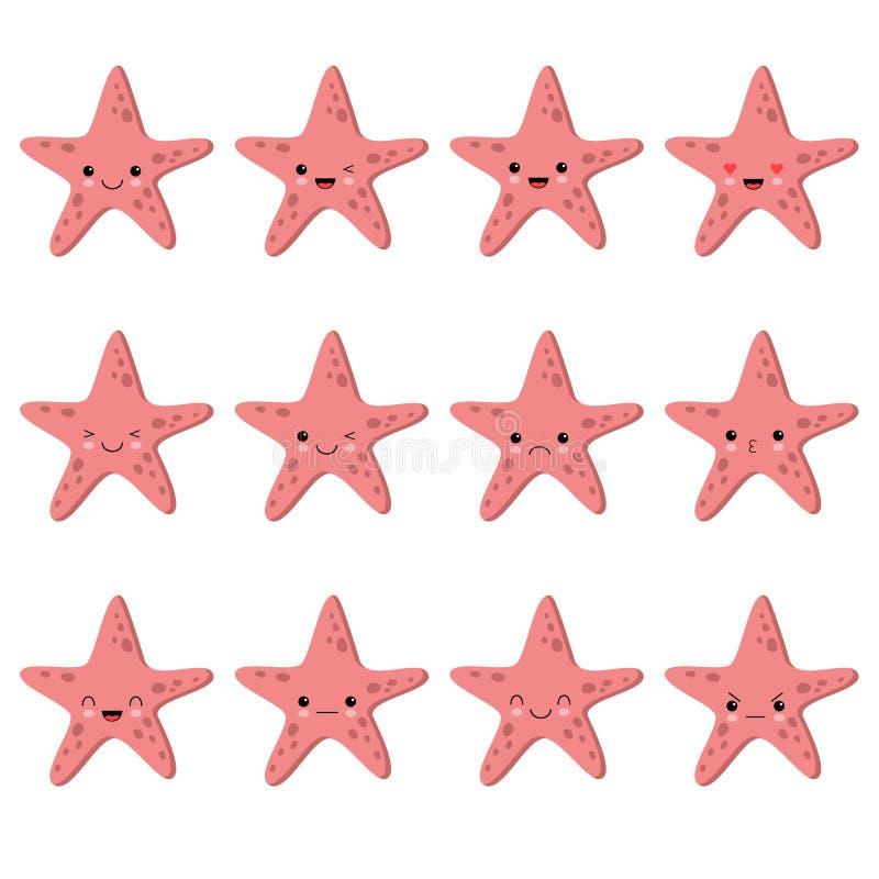 Ślicznej kawaii rozgwiazdy wektorowy inkasowy projekt, zwierzę wektorowy inkasowy projekt emocje ustawia? royalty ilustracja