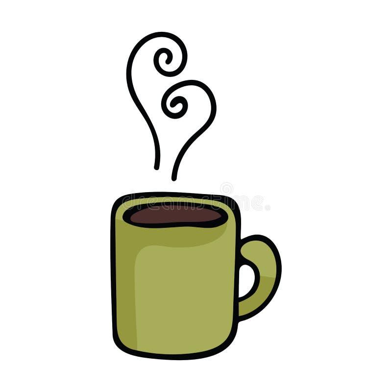 Ślicznej kawowego kubka kreskówki motywu wektorowy ilustracyjny set ilustracji