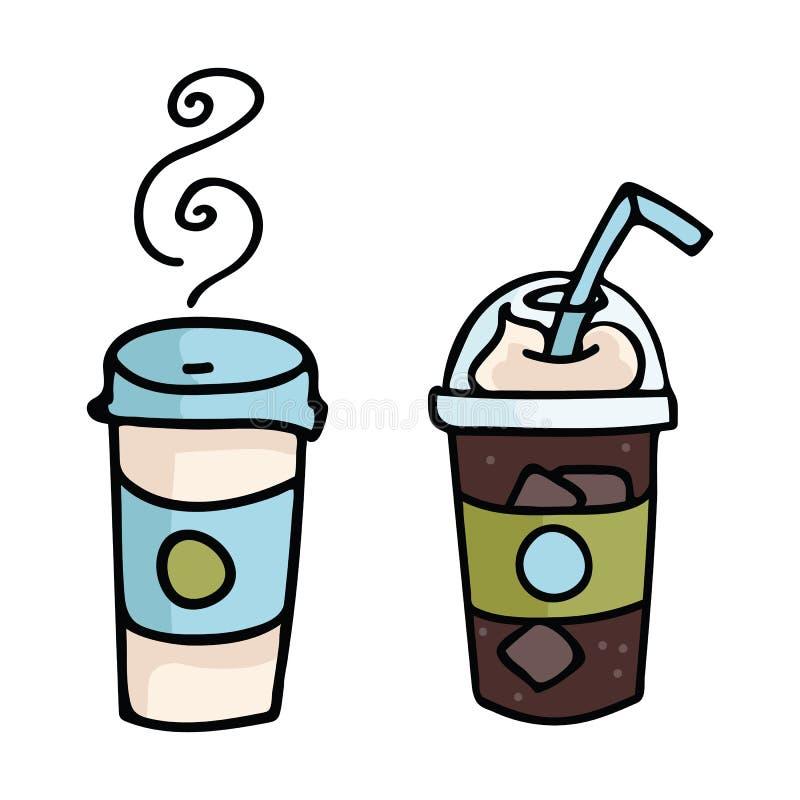 Ślicznej kawowej frappe kreskówki motywu wektorowy ilustracyjny set ilustracja wektor