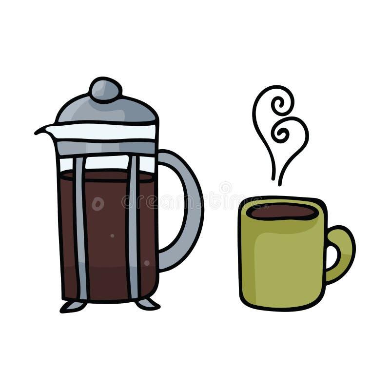 Ślicznej kawowej garnek kreskówki motywu wektorowy ilustracyjny set ilustracja wektor
