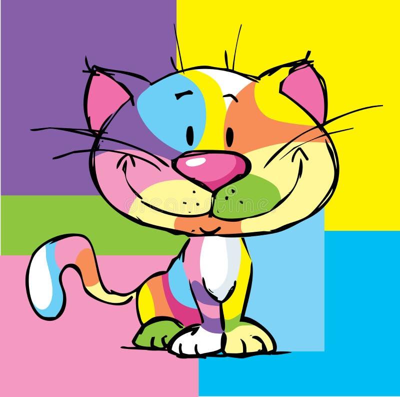 Ślicznej kiciuni kreskówki kota wystrzału sztuki projekta Kolorowa rama - wektor ilustracji
